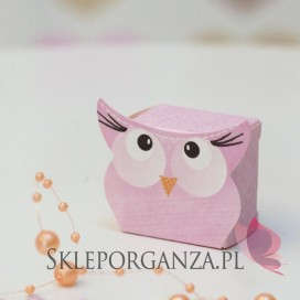 Kolekcja Sowa na Baby Shower Pudełko SOWA różowa mała