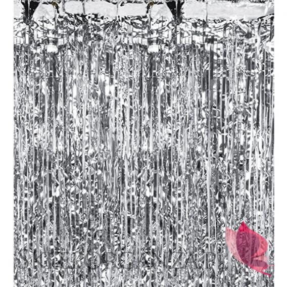 Dekoracje wiszące Kurtyna metaliczna błyszcząca srebrna