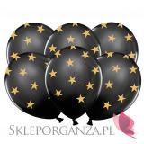 Balony na Roczek Balony czarne GWIAZDKI złote, 6szt
