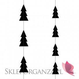 Dekoracje papierowe Girlanda czarne CHOINKI pionowe