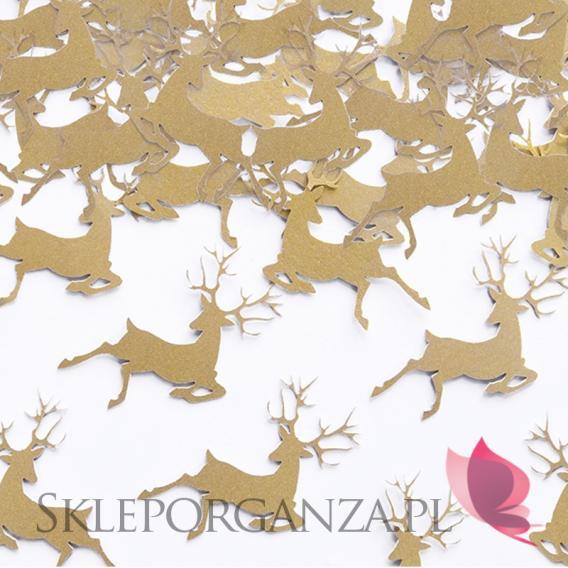 Dekoracje stołu sylwestrowego Konfetti RENIFERY złote
