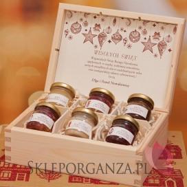 Świąteczny zestaw miodów w szkatułce – średni - personalizacja