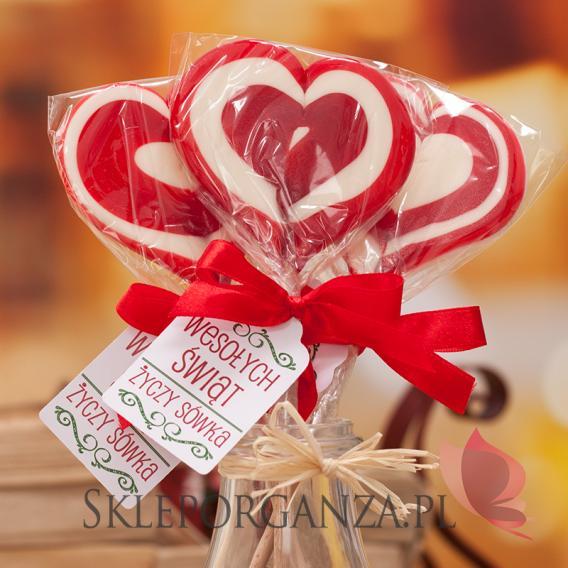 Lizaki świąteczne Lizak duży serce czerwone- personalizacja - ŚWIĘTA