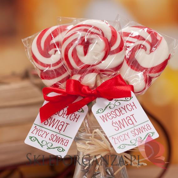 Lizaki świąteczne Lizak okrągły czerwony - personalizacja - ŚWIĘTA