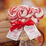 Lizaki świąteczne z LOGO Lizak okrągły czerwony - personalizacja - ŚWIĘTA
