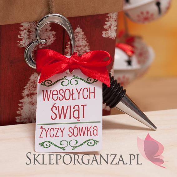 Drobne upominki świąteczne z LOGO Srebrna zatyczka do wina serce - personalizacja -ŚWIĘTA