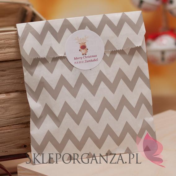 Papierowa torebka święta CHEVRON beżowa - personalizacja