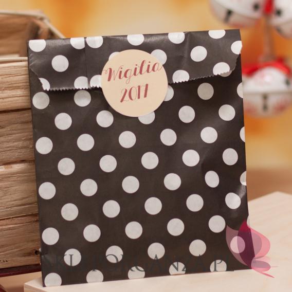 Upominki Papierowa torebka KROPKI czarna - personalizacja - ŚWIĘTA