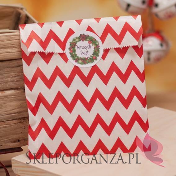 Papierowa torebka CHEVRON czerwona - personalizacja