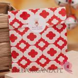 Papierowa torebka ORNAMENT czerwona - personalizacja - ŚWIĘTA