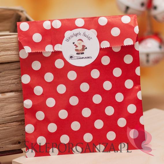 Upominki świąteczne Papierowa torebka KROPKI czerwona - personalizacja - ŚWIĘTA