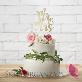Topper na tort - Mr&Mrs złoty
