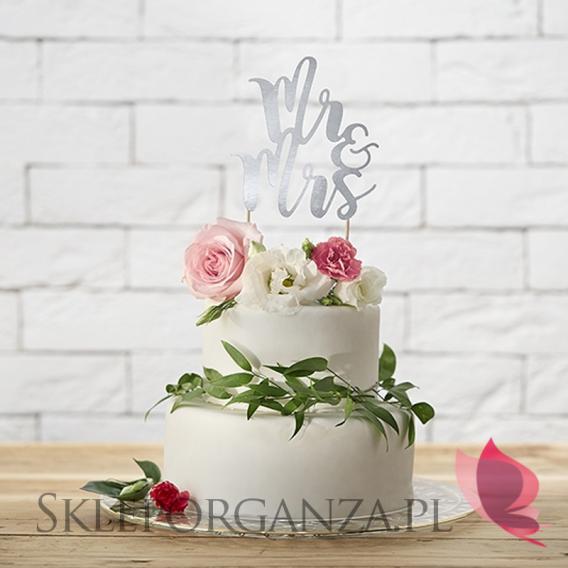 Topper na tort - Mr&Mrs srebrny