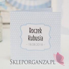 Kolekcja Kropeczki na Roczek Zaproszenie ze zdjęciem ROCZEK KOLEKCJA KROPECZKI NIEBIESKA – PERSONALIZACJA