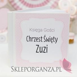 -Księga gości CHRZEST KOLEKCJA KROPECZKI RÓŻOWA - PERSONALIZACJA