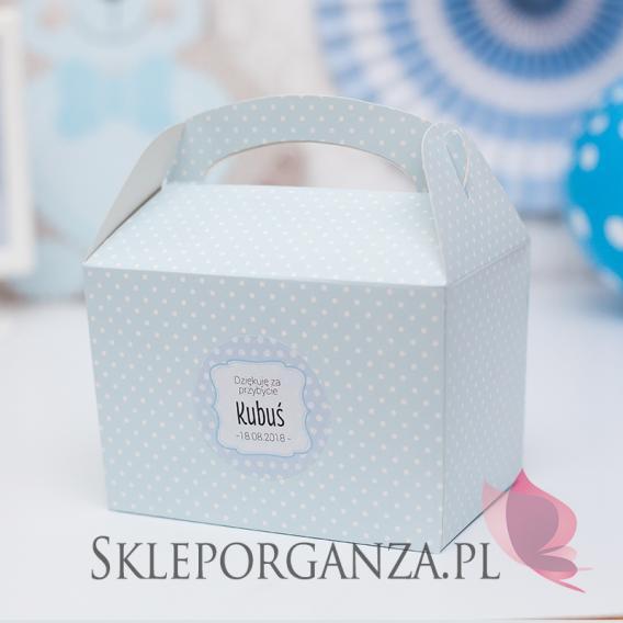 Kolekcja Kropeczki na Baby Shower Pudełko na ciasto KOLEKCJA KROPECZKI NIEBIESKA - PERSONALIZACJA