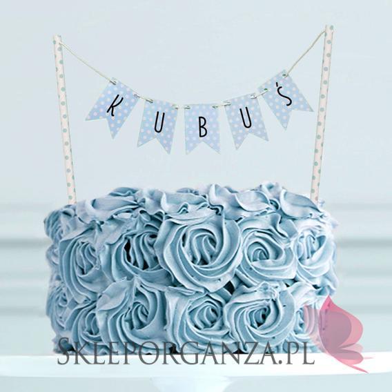 Kolekcja Kropeczki na Baby Shower Topper na tort KOLEKCJA KROPECZKI NIEBIESKA PERSONALIZACJA