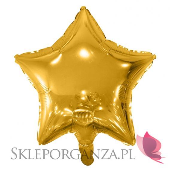 Balony foliowe Balon foliowy GWIAZDKA złota 48cm