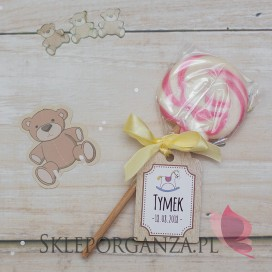 Kolekcja Konik na biegunach na Baby Shower Lizak różowy KOLEKCJA KONIK NA BIEGUNACH – PERSONALIZACJA