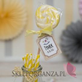 Kolekcja Konik na biegunach na Baby Shower Lizak żółty KOLEKCJA KONIK NA BIEGUNACH – PERSONALIZACJA