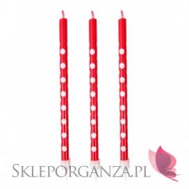 Świeczki na tort czerwone KROPKI