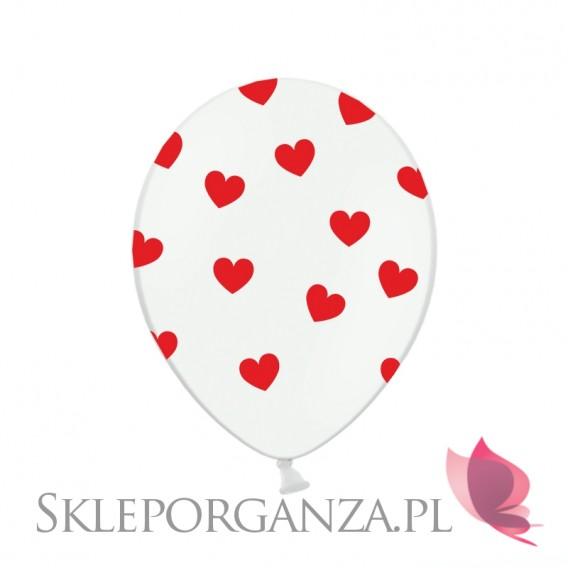 Balon biały SERCA czerwone, 6 szt.