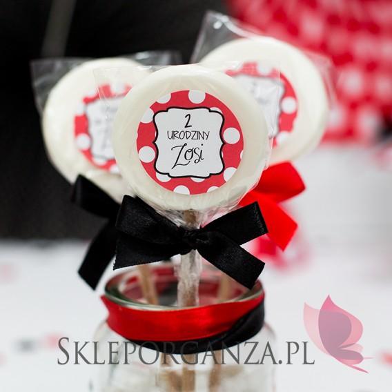Upominki dla gości na Urodziny personalizowane Lizak biały KOLEKCJA BIEDRONKA – PERSONALIZACJA