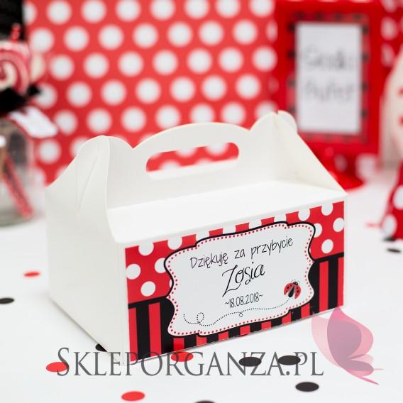 Upominki dla gości na Urodziny personalizowane Pudełko na ciasto KOLEKCJA BIEDRONKA – PERSONALIZACJA