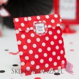 Upominki dla gości na Urodziny personalizowane Torebka czerwona KOLEKCJA BIEDRONKA – PERSONALIZACJA