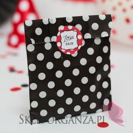 Upominki dla gości na Urodziny personalizowane Torebka czarna KOLEKCJA BIEDRONKA – PERSONALIZACJA