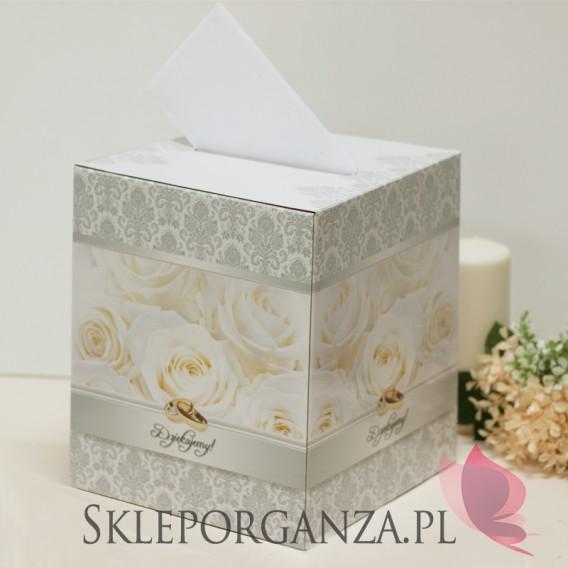 Tekturowe pudełka na koperty ślubne Pudełko na telegramy SREBRNE
