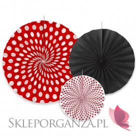 Rozety dekoracyjne czarno – czerwone, 3szt.