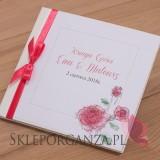 Księga gości skóra biała - personalizacja kolekcja VINTAGE ROSE