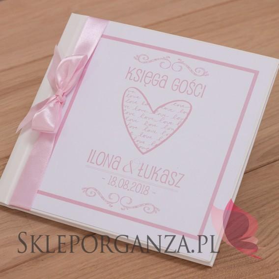 Księgi gości weselnych kwadratowe Księga gości skóra biała - personalizacja kolekcja LOVE