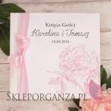 Księgi gości weselnych kwadratowe Księga gości skóra biała - personalizacja kolekcja PIWONIA