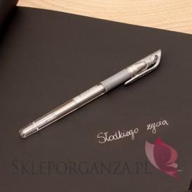 Długopis żelowy srebrny