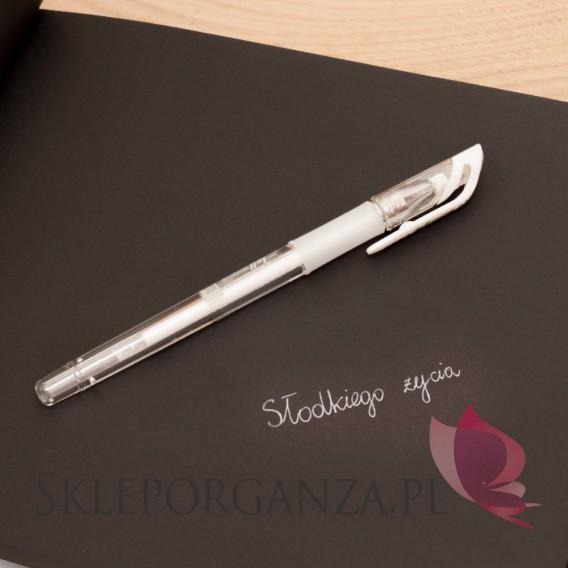 Paleta - biel, zieleń, róż Długopis żelowy biały