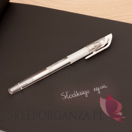 Długopis żelowy biały
