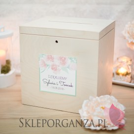 Drewniana skrzynka na koperty - personalizacja kolekcja AKWARELE PEONIA