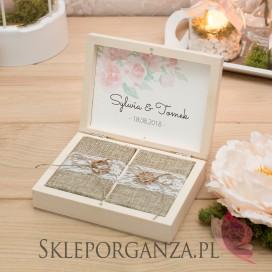 Drewniane pudełko na obrączki - personalizacja kolekcja AKWARELE PEONIA