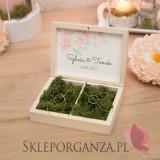 Drewniane pudełko na obrączki mech - personalizacja kolekcja AKWARELE PEONIA