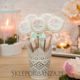 AKWARELE PEONIA na ślub Lizak biały - personalizacja kolekcja AKWARELE PEONIA