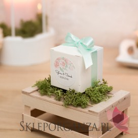 Pudełko kostka - personalizacja kolekcja AKWARELE PEONIA