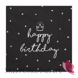 Serwetki Happy Birthday czarne, 33x33cm