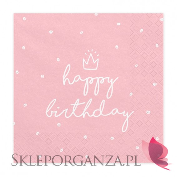 Kolekcja Roczek Dziewczynki Serwetki Happy Birthday jasnoróżowe, 33x33 cm