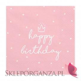 Serwetki Happy Birthday jasnoróżowe, 33x33 cm