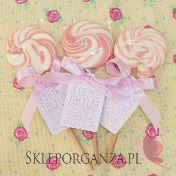 Z personalizacją Lizak okrągły różowy - personalizacja