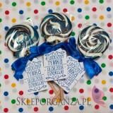 Upominki dla gości na Urodziny personalizowane Lizak okrągły szafirowy - personalizacja