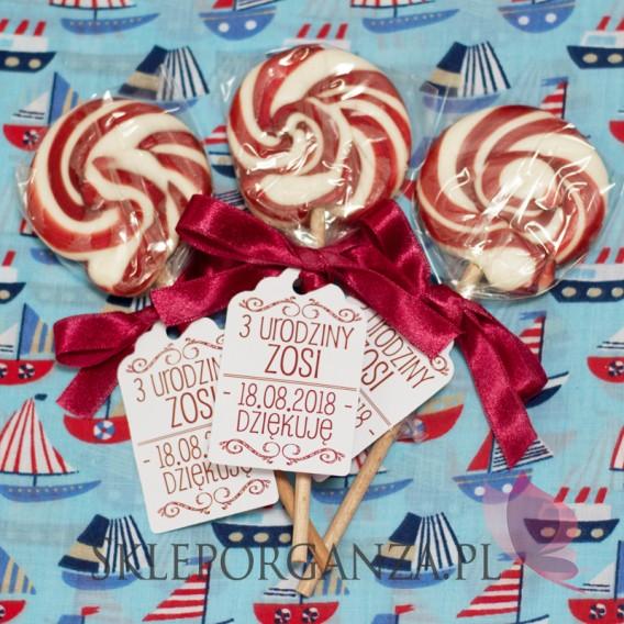 Upominki dla gości na Urodziny personalizowane Lizak okrągły bordowy - personalizacja