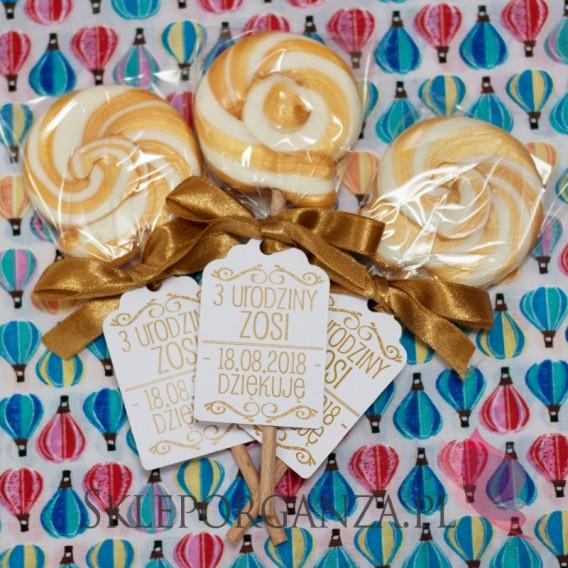 Upominki dla gości na Urodziny personalizowane Lizak okrągły złoty - personalizacja